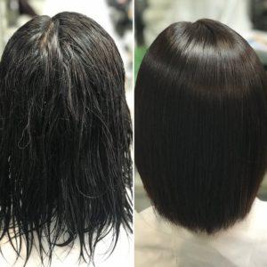 傷みの少ない縮毛矯正+カラー