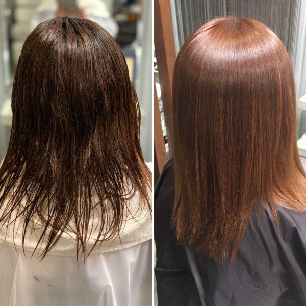 傷みの少ない縮毛矯正と同時にカラー