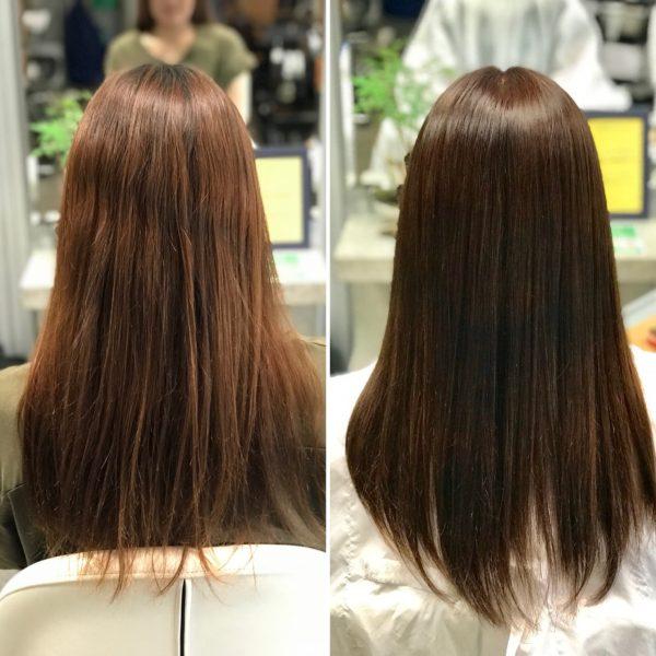 細く傷みやすい方の縮毛矯正+カラー
